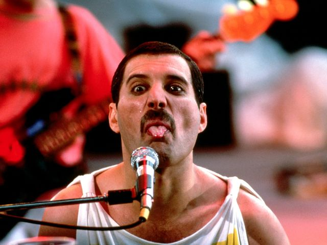 Freddie Mercury during the gig at Lexton Festival in London, 1979.